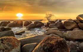 Обои песок, камни, пляж, берег, прибой, волны, расвет