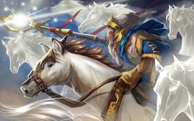 Картинка лошадь, копье, dota 2, Keeper Of The Light, Ezalor, dota, маг