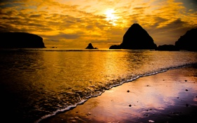 Обои море, пляж, пена, скалы