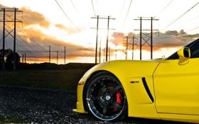 Картинка небо, облака, закат, желтый, тюнинг, Z06, Corvette
