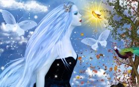 Картинка небо, листья, девушка, облака, бабочки, природа, лицо