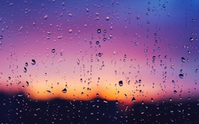Обои капли, закат, пурпурный