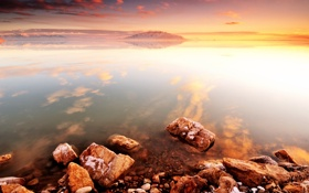 Обои закат, камни, море