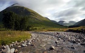 Картинка гора, пейзаж, река, камни