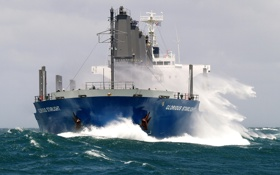 Обои waves, storm, sea, ship, bow, wind, cargo