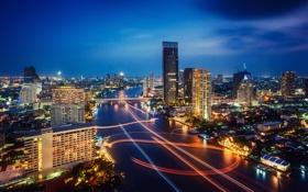 Картинка ночь, город, огни, выдержка, тайланд, Bangkok