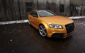 Картинка ракурс, Audi, передок, тюнинг, машина, Gold Orange, RS3