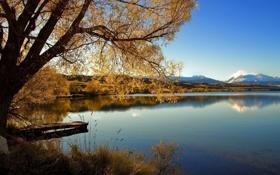 Картинка осень, деревья, река, мостик