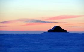 Картинка зима, поле, ночь, дом