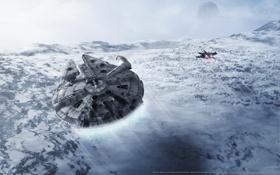 Картинка звездные войны, star wars, X-Wing, тысячелетний сокол, Millennium falcon