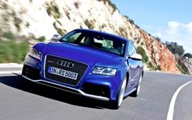 Обои Audi, Авто, Дорога, Синий, Машина, Капот, День