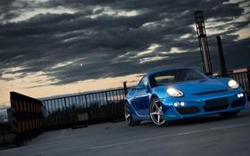 Картинка Porsche, Cayman, суперкар, Blue, tuning, передок, Chrome