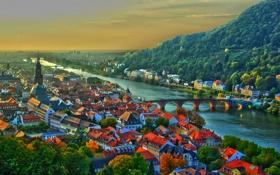 Картинка небо, закат, горы, мост, река, дома, Германия