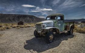 Картинка машина, горы, пустыня, грузовик, пикап, розвалина