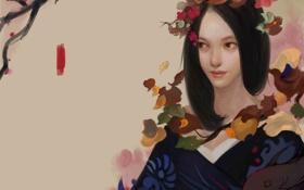 Картинка девушка, цветы, фон, рыба, арт