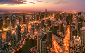 Обои закат, город, огни, высота, небоскребы, вечер, Дубаи
