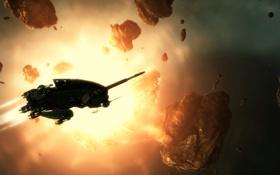 Картинка солнце, космос, корабль, астероиды