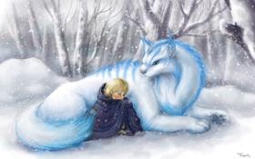 Обои лес, снег, деревья, ветки, ребенок, Зима, шерсть