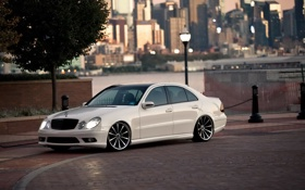Картинка белый, тюнинг, автомобиль, Mercedes Benz, мерседес, AMG, E Class