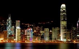 Обои свет, ночь, город, мегаполис