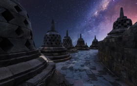Картинка звезды, Ява, Индонезия, небо, ночь, Боробудур, храм