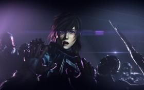 Обои девушка, лицо, смерть, темно, рука, Final Fantasy, Lightning