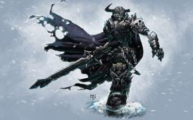 Обои снег, доспехи, воин, цепи, Нежить