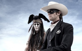 Картинка Johnny Depp, Джонни Депп, Дикий Запад, вестерн, The Lone Ranger, Арми Хаммер, Одинокий рейнджер