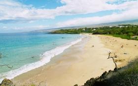 Картинка природа, пляж, люди, волны, океан