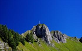 Обои небо, трава, люди, гора, крест, Германия, Швангау