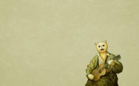 Обои кот, гитара, живопись, сидит, играет