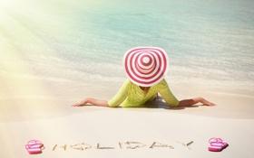 Картинка море, пляж, лето, девушка, солнце, отдых, шляпа