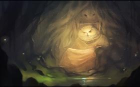 Обои лес, сова, арт, трон