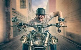 Обои мотоцикл, мотоциклист, безумие