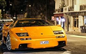 Обои car, желтый, улица, вечер, sport, дорога., Lamborgini diablo