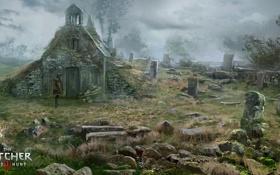 Обои кладбище, ведьмак, пустош, The Witcher 3: Wild Hunt