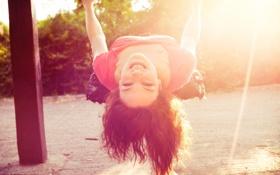 Картинка солнце, радость, дети, улыбка, фон, качели, обои