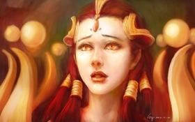 Картинка глаза, фантастика, девушка, волосы, лицо, украшения, рыжая