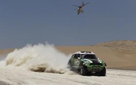 Обои Спорт, Зеленый, Вертолет, Гонка, Mini Cooper, Dakar, Ралли