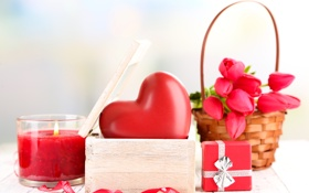 Обои шкатулка, корзина, свеча, тюльпаны, красное, букет, сердце