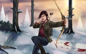 Обои зима, снег, лук, стрела, art, элли, the last of us