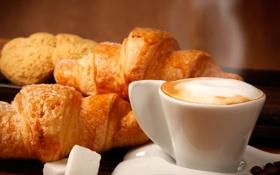 Картинка кофе, кофейные зерна, аромат, coffee, круассаны, croissants, aroma coffee beans