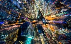 Обои свет, город, огни, небоскрёбы