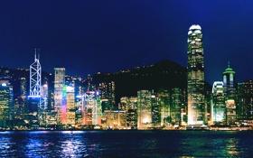 Картинка ночь, город, Гонконг, панорама, Hong Kong