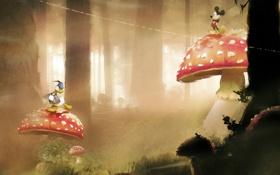 Обои лес, трава, деревья, грибы, мультфильм, мухоморы, Disney