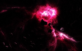 Обои энергия, взрыв, планета, вспышка, астероиды