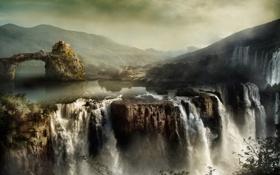 Картинка небо, пейзаж, горы, дом, скалы, водопады, усадьба