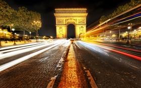 Обои париж, города, арки, ночь, вид, огни, машины