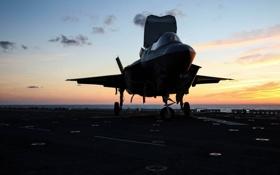 Картинка истребитель, палуба, бомбардировщик, F-35B, Lockheed Martin
