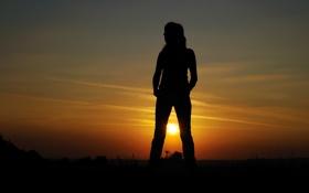 Картинка девушка, закат, природа, силуэт